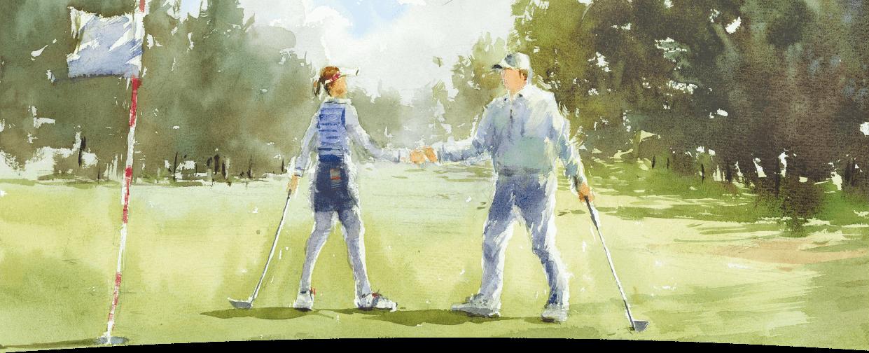 ゴルフ場で握手をするイラスト
